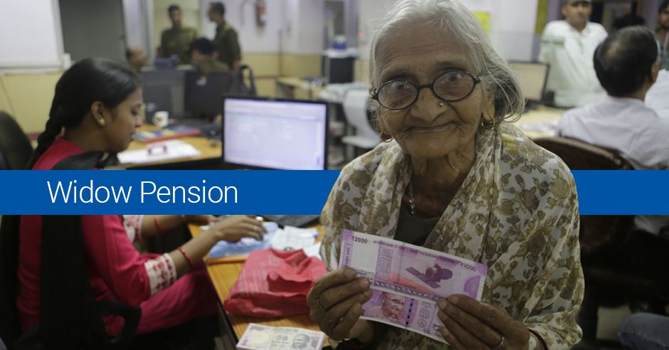 A old women holding pension cheque