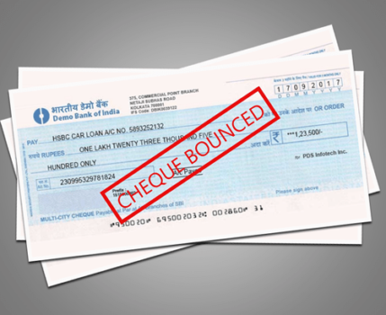 Bank Cheque of SBI are shown bounced