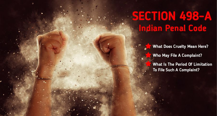 Images about section 498A showing hands in handcuff and text about content of blog