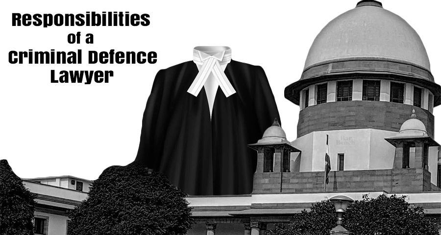 Dress of a criminal defence lawyer in front of Supreme Court