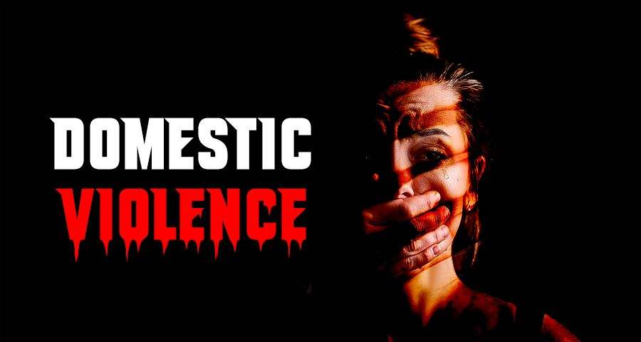 A woman hiding her pain due to domestic violence
