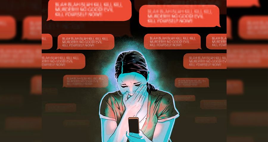 Woman harassed online and suffering from anxiety attack
